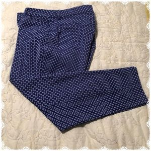 Old Navy Blue & White Cropped/Ankle Pants